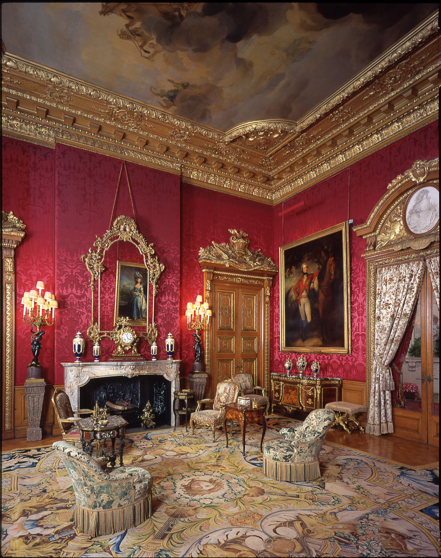 The Red Drawing Room, Waddesdon Manor, The Rothschild Collection (The National Trust). Photo John Bigelow Taylor ©The National Trust, Waddesdon Manor